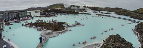 BLUE LAGOON, ICELAND - MAR 08: People bathing in The Blue Lagoon Stock Photo
