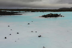 Blue lagoon, Iceland. Blue lagoon in Iceland, overcast weather Stock Photos
