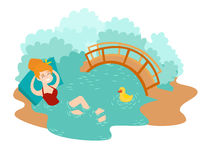 Blue lagoon Icelandic landmark vector icon. Cartoon woman swim at hot fountain. Vector illustration, isolated on white background Royalty Free Stock Photos