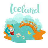 Blue lagoon Icelandic landmark vector icon. Cartoon woman swim at hot fountain. Vector illustration, isolated on white background Royalty Free Stock Photography