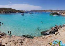 Blue Lagoon Island of Comino. Arriving in Comino. Blue lagoon. Beach on mediterrean sea. paradise in Malta Royalty Free Stock Images