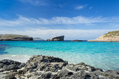Blue lagoon on the Island of Comino Royalty Free Stock Photography