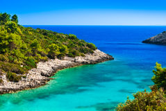 Blue lagoon, island paradise of Adriatica. Blue lagoon, island paradise. Adriatic Sea of Croatia, Korcula, popular touristic destination Stock Images