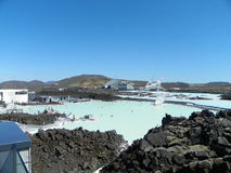 Blue Lagoon Keflavik Iceland in May. View of the Blue Lagoon geothermal pool and lava fields located in Keflavik Iceland Stock Images