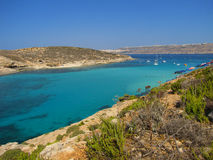 The Blue Lagoon - Malta. The beautiful beach of the Blue Lagoon in Comino (Malta Stock Image