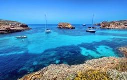 Blue lagoon in Malta Stock Image