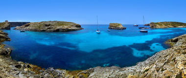 Blue lagoon in Malta. On the island of Comino royalty free stock photo