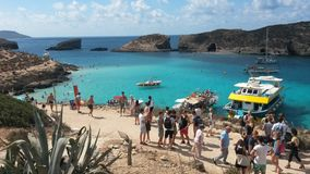 Blue Lagoon Malta. The blue lagoon at the island of comino. Lot's of people and ships in the wonderfull blue wather Royalty Free Stock Image