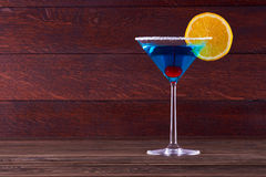 Blue Lagoon Margarita Cocktail. Blue Lagoon Margarita Cocktail in the bar Royalty Free Stock Images