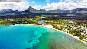Mauritius Island, Aerial View. Blue lagoon and mountains, aerial view from helicopter. Mauritius Island. Indian Ocean royalty free stock image