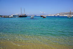 Blue lagoon on Mykonos island, Cyclades, Greece Stock Photography