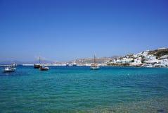 Blue lagoon on Mykonos island, Cyclades, Greece Royalty Free Stock Images