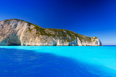 Blue lagoon of Navagio Beach on Zakynthos Stock Photos