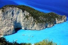 Blue lagoon of Navagio Beach Stock Image