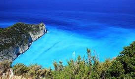 Blue lagoon of Navagio Beach Stock Photos