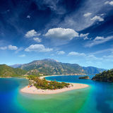 Blue lagoon in Oludeniz. Aerial view of blue lagoon in Oludeniz, Fethiye district, Turquoise Coast of southwestern Turkey royalty free stock image