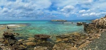 Blue lagoon panorama. On Akamas Peninsula near Latchi, Cyprus Royalty Free Stock Photography