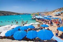 Blue Lagoon parasols Stock Photography