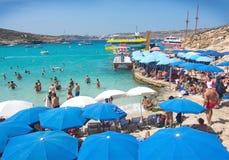 Blue Lagoon parasols Royalty Free Stock Image