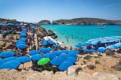 Blue Lagoon parasols Stock Image