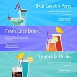Blue Lagoon Party Fresh Juice Drinks with Umbrella. Vector icons with alcoholic beverages in beautiful decorated glasses with web buttons Stock Photo