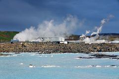 The Blue Lagoon pools in front of the geothermal plant.