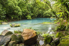Blue Lagoon on Rio Celeste. The cerulean blue waters of the 'Blue Lagoon' on the Rio Celeste in Volcan Tenorio National Park, Costa Rica Stock Images