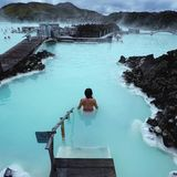 Blue lagoon. Soaking in the famous blue lagoon hot springs in Iceland royalty free stock photography