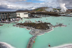Blue Lagoon Spa, Iceland. Aerial view of the Blue Lagoon Spa, with the geothermal power plant and the rest of the Blue Lagoon pool in the background, near Stock Images