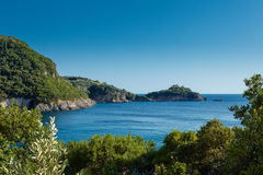 Blue lagoon. Surrounded with rocky coast, Corfu, Greece Stock Photography