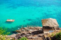 Blue lagoon with turquoise sea water Royalty Free Stock Photography