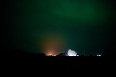 Blue Lagoon under aurora Stock Photography