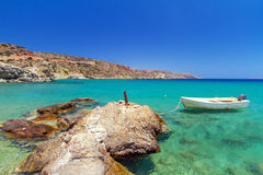 Blue lagoon of Vai beach on Crete. Greece Royalty Free Stock Images