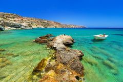 Blue lagoon of Vai beach on Crete. Greece Stock Photos