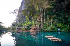 Blue lagoon, Vang Vieng, Laos royalty free stock photography