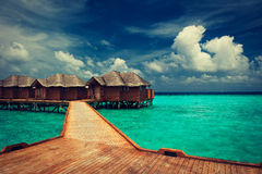 Blue lagoon.Water bungalows Royalty Free Stock Photography