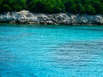 Blue lagoon, Greece. Blue lagoon,  wild beach, blue crystal water, Greece Royalty Free Stock Image