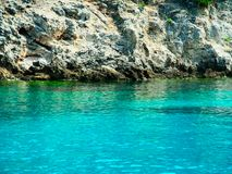 Blue lagoon, Greece. Blue lagoon,  wild beach,  blue crystal water, cruise, Greece Royalty Free Stock Photo