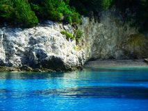 Blue lagoon, Greece. Blue lagoon,  wild beach, blue crystal water, Greece Stock Photo