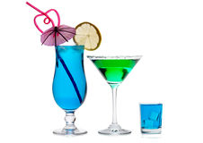 Blue Laguna, Green Vesper and Bombay Sapphire shot Royalty Free Stock Images