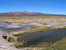 Blue lagunas at the Patapampa pass (Peru). Lagunas at the road between Arequipa and Chivay, Peru Royalty Free Stock Images
