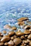 Blue Lake. Blurred waves rolling onto rocks Royalty Free Stock Image