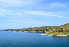Blue lake. Big Lake of Sirikit Dam at Sirikit Dam Uttaradit, Thailand Royalty Free Stock Images