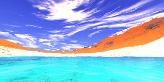 Blue lake. In the mountains royalty free illustration