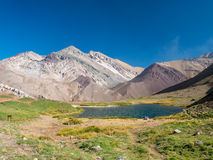 Blue Lake in the Andes, near of Aconcagua royalty free stock photos