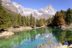 Blue lake in Aosta valley Stock Images