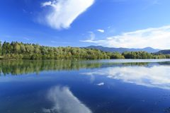Blue lake in autumn Royalty Free Stock Photos