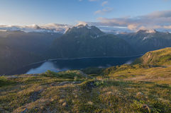 Blue Lake. On Baranof Island in Alaska seen from high up on the slope of Bear Mountain Stock Photo