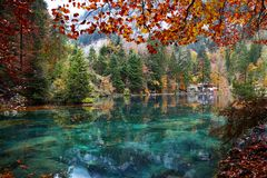 Blue lake called Blausee in Switzerland stock image