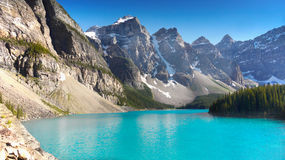 Canadian Rockies, Moraine Lake, National Park. Beautiful Moraine Lake in Canadian Rockies. Nature landscape. Alberta royalty free stock photography